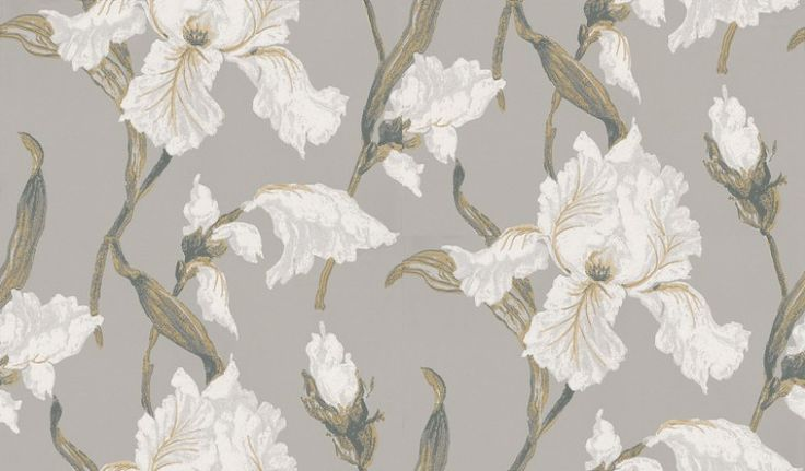 Irresistible (953 05 42) - Casamance Wallpapers - A stunning large scale floral design, with beautifully detailed Iris flowers with a hand painted effect - shown in white on a mid grey background. Paste the wall. Please request sample for true colour match.