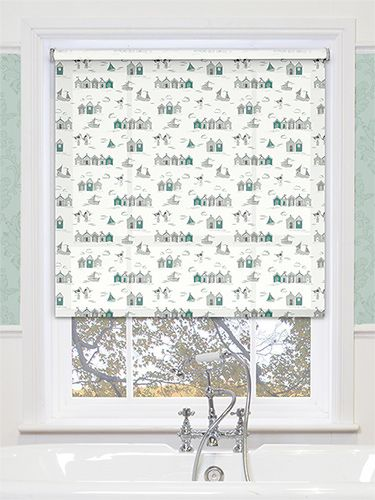 Give your bathroom a nautical edge with this lovely roller blind, boating great little illustrations of beach huts and boats. #patterned #bathroom #roller #blinds