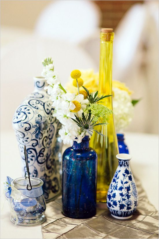 Decoração Azul e Amarela para o centro de mesa