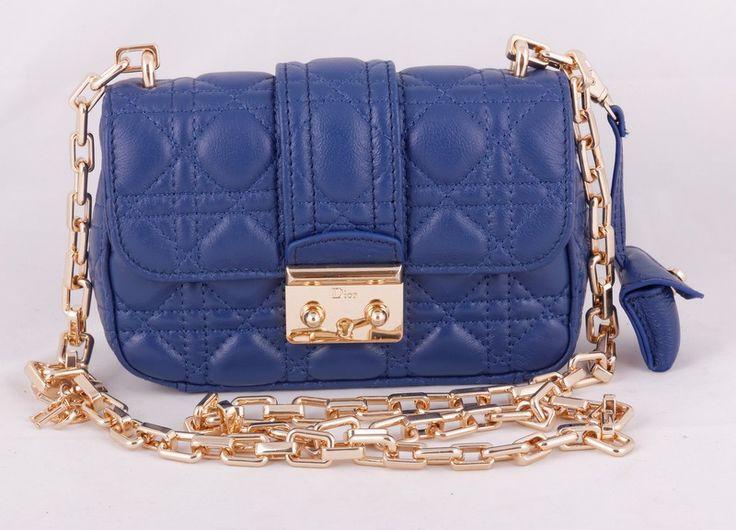 Сумка Miss Dior черная mini синяя