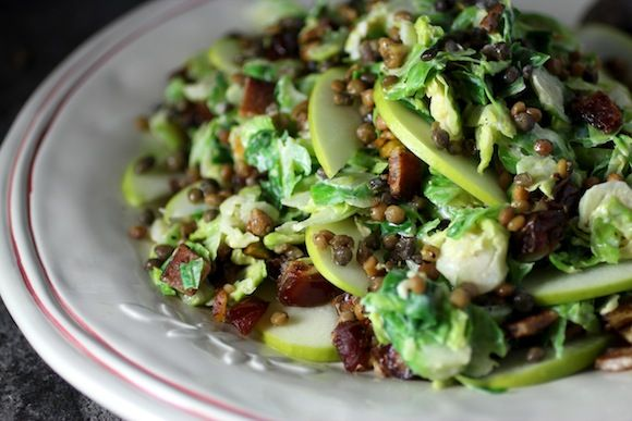 shaved brussels sprouts & french lentils ~ bacon, dates, apples, pistachio nuts,  tahini apple dressing