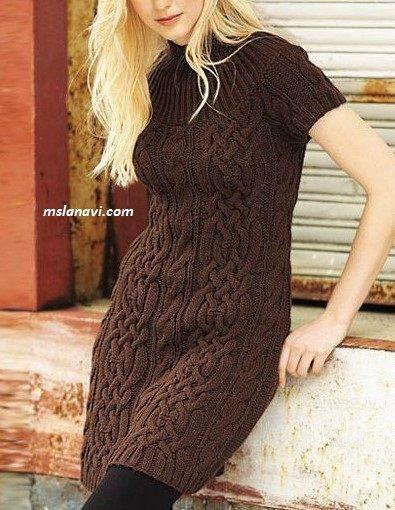 Вязаное платье с объемным араном - СХЕМА http://mslanavi.com/2017/05/vyazanoe-plate-s-obemnym-aranom/