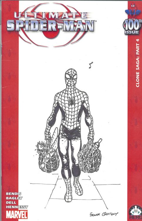 Ultimate Spider-Man #100 Hero Initiative Cover - Frank Quitely
