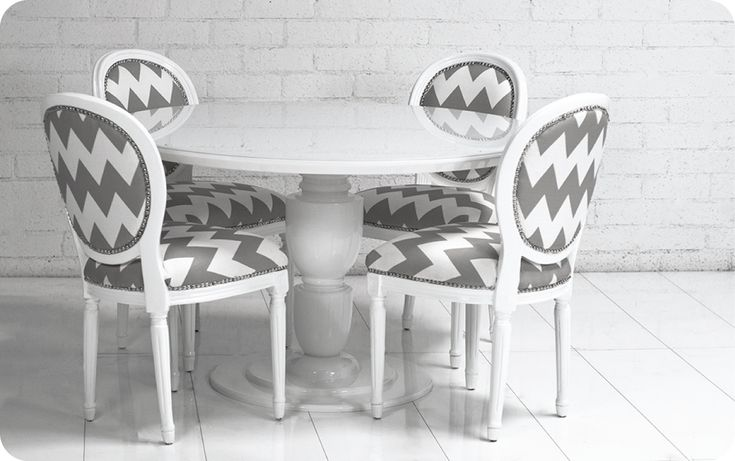 Louis Dining Chairs :: Gray Chevron :: Room Service Store