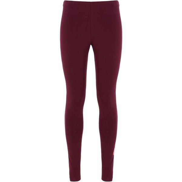 Nike Leggings ($30) ❤ liked on Polyvore featuring pants, leggings, maroon, purple leggings, nike jerseys, stretch waist pants, cotton pants and nike
