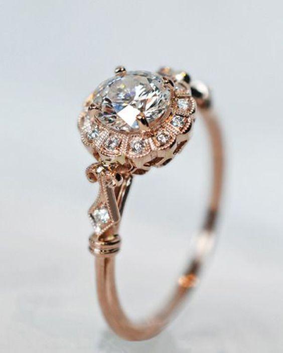 pretty vintage rose gold diamond wedding engagement rings | Do it ...