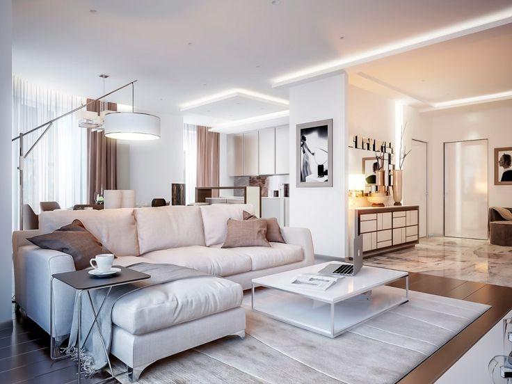 Стильная гостиная с биокамином в стиле контемпорари - Дизайн интерьеров | Идеи вашего дома | Lodgers