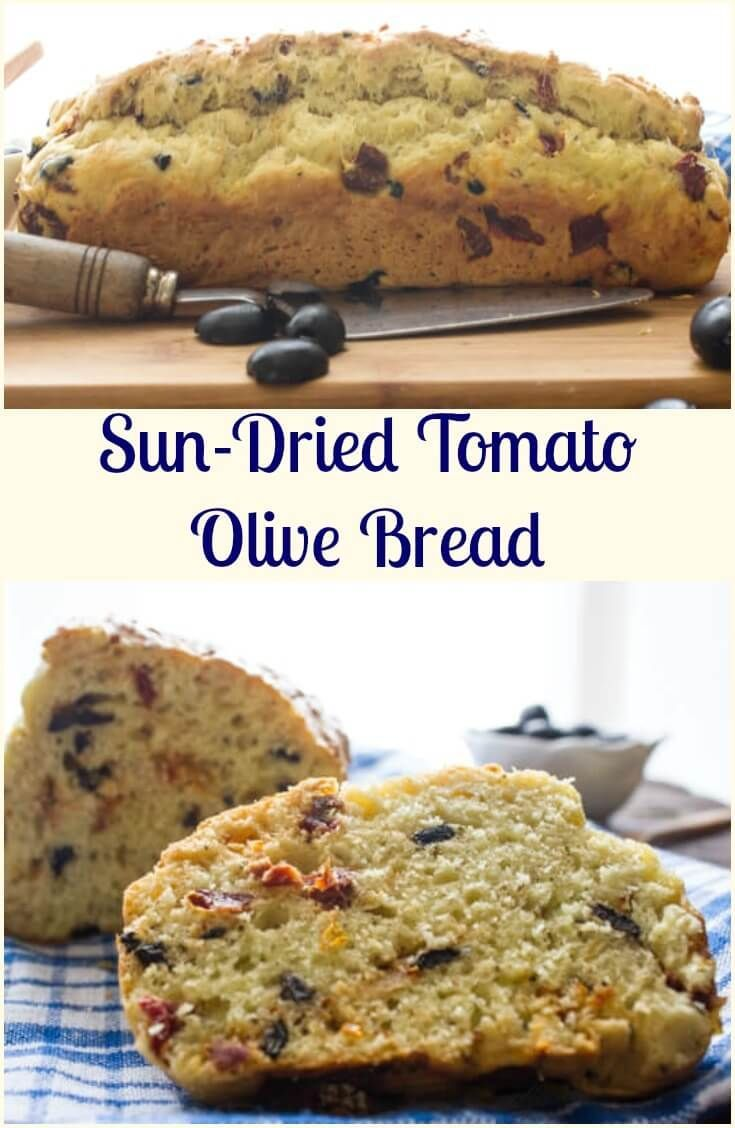 Sun-Dried Tomato Olive Bread, a delicious healthy savory no-yeast Italian bread recipe. Fast and easy, the perfect appetizer or snack.  via @https://it.pinterest.com/Italianinkitchn/