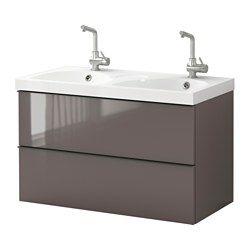 IKEA Badkamermeubels met wastafel   Online verkrijgbaar. Godmorgon/grijs hoogglans