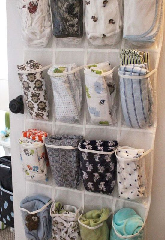 15 Ways to Organize Baby Clothes shoe holder cloth diaper storage - Mommy Scene