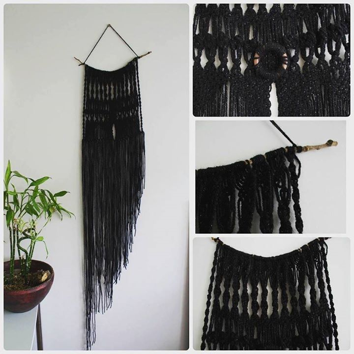 """""""Little black dress macrame"""" This beautiful wall decor macrame was one of my first macrame project. I still find it very elegant and I'm still in love with those knots!"""