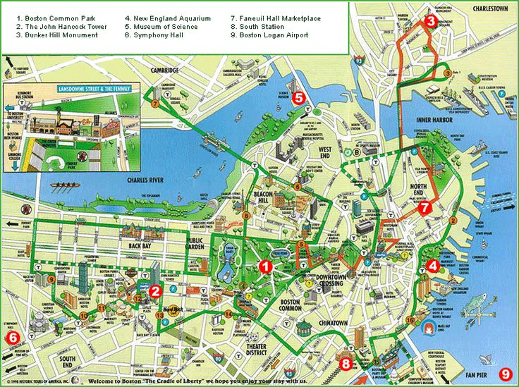 Printable Boston Tourist Map | here is a boston tourist map that indicates the important attractions
