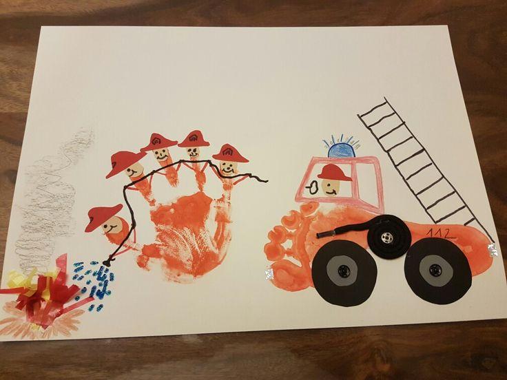 """Unsere 5.jährige Tochter sollte in der Bambini Feuerwehr ein Bild malen zum Thema """"Es brennt-wer kommt?"""""""