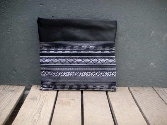 Boho clutchimpregnated fabric in black and white and by byCACHE