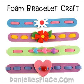 "What you will need: Craft foam sheets in different colors Fun shapes (hearts, flowers, etc.) Heart pony beads (Optional) Hole punch Scissors Glue Ruler Self-stick Velcro Tabs How to make: 1. Cut a piece of craft foam 3/4"" - 1"" thick by 7"" to make the band. 2. Place the band around your wrist to make sure it fits. It should overlap about one inch. Cut off any extra length. 3. Use your ruler and mark a line down the center of the band. 4. Fold the band in half so that the line ..."