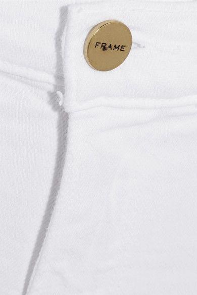 FRAME - Le Cutoff Stretch-denim Shorts - White - 28