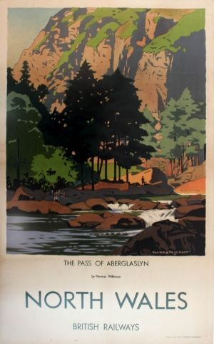 North Wales Pass of Aberglaslyn Railways Wilkinson, 1930s - original vintage poster by Norman Wilkinson listed on AntikBar.co.uk