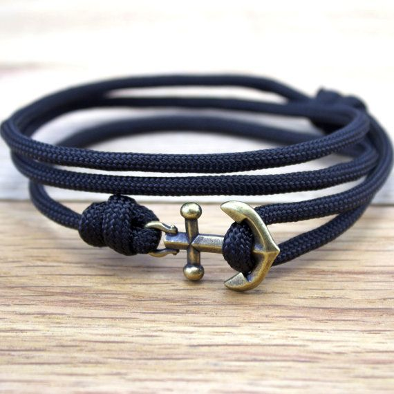Anchor Paracord Nautical Bracelet in Black by DesignedTurning