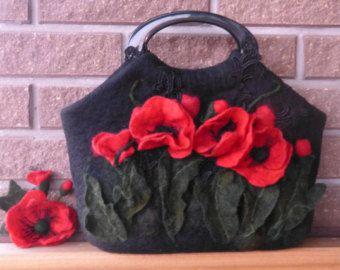 Felted handbag flower Pansy flower Pansies Original от galafilc