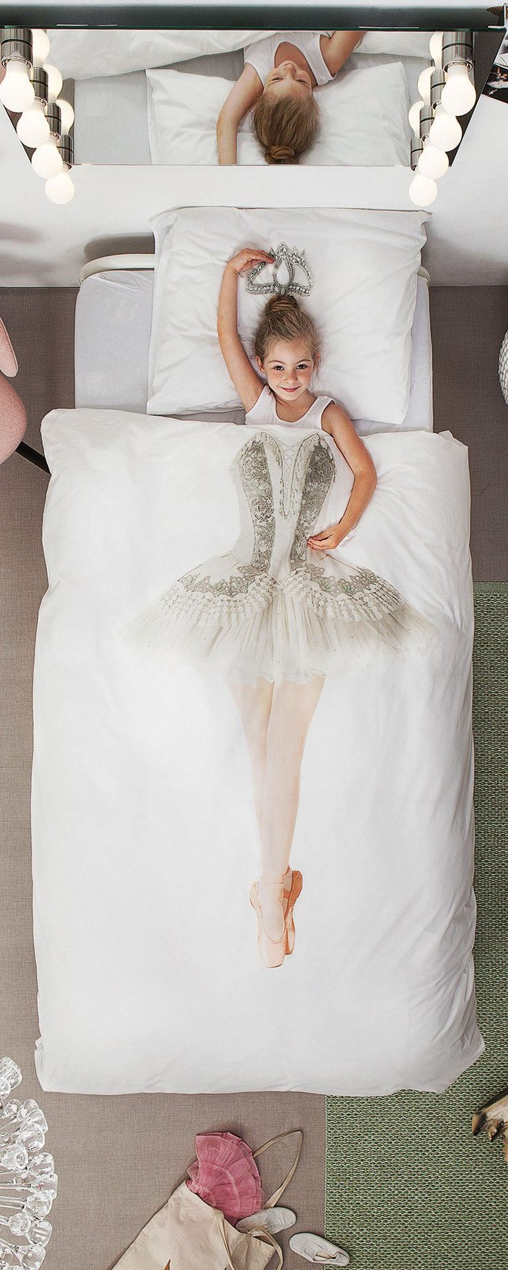 These photo-realistic kids' duvet covers let kids play dress up as they get tucked in. Super soft and meticulously designed, the duvets feature beautiful screen printed images that will pique kids' imagination. They can be mermaids, astronauts, or T-rexes just by snuggling up under the covers.