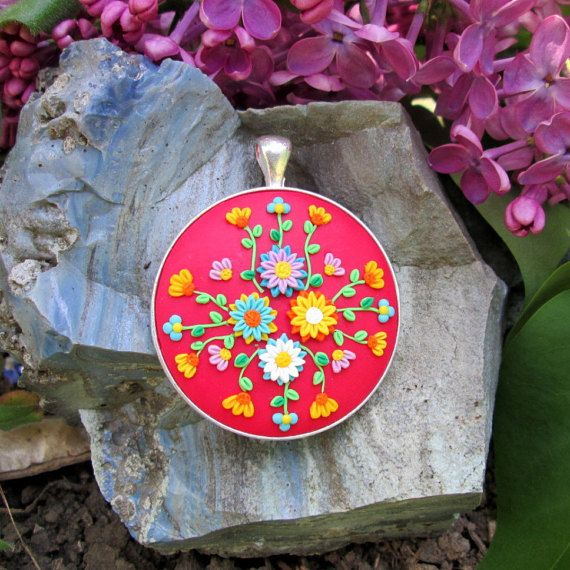 free shipping jewelry red colorful statement necklace fashion style boho vintage gift for her by FloralFantasyDreams