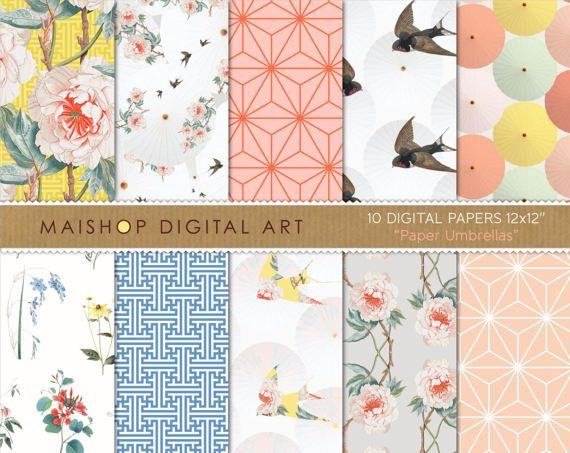 Digital Paper Pack 'Paper Umbrellas' by MaishopDigitalArt on Etsy