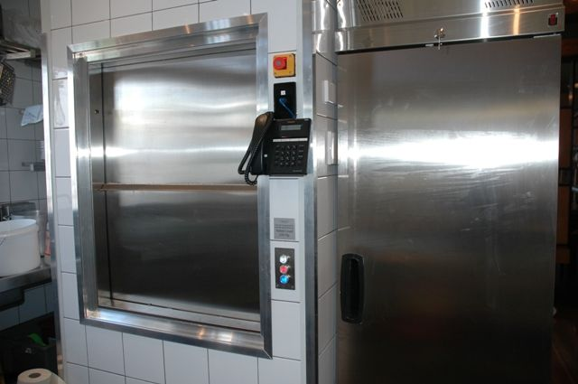 The Woodlands Hotel dumbwaiter which travels from basement to kitchen to dining room up top.