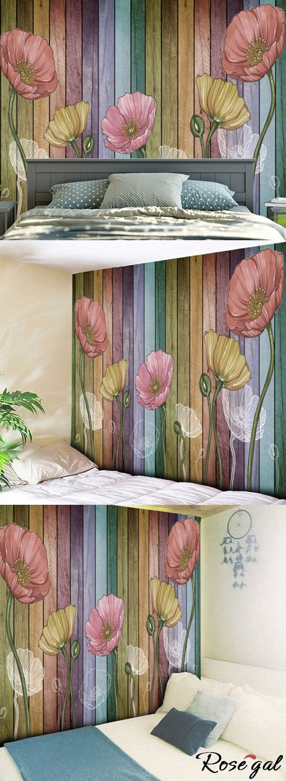 Free shipping worldwide.Flower and Wood Board Pattern Wall Hanging. #wall tapestry #wall hanging #home decor #flower #bedroom