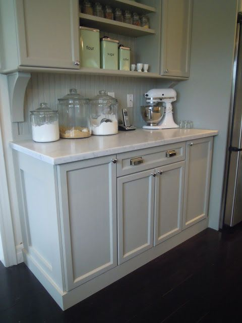 Just beachy, millwork, grey cabinets, marble , kitchenaid , baking center