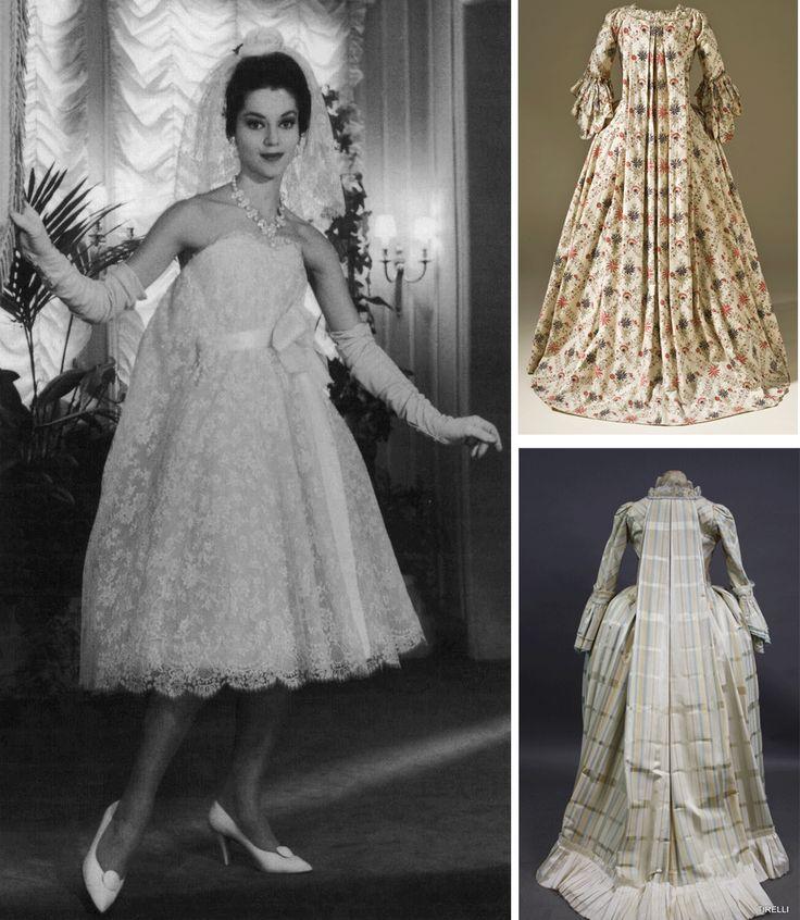 "1958 Wedding dress Christian Dior by Yves Saint Laurent and XVIII ""watteau"" dresses"
