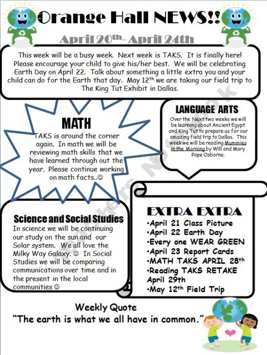 Classroom Newsletter Template that's student-friendly. I might add CCSS in each subject area text box:-)
