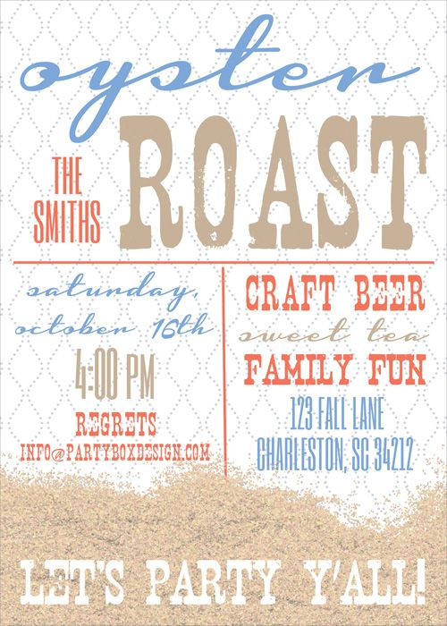 oyster roast, cocktail party, backyard bbq, oyster roast invitations, oyster party invites, oysters, fall party invitations, oysters. oyster roast invite