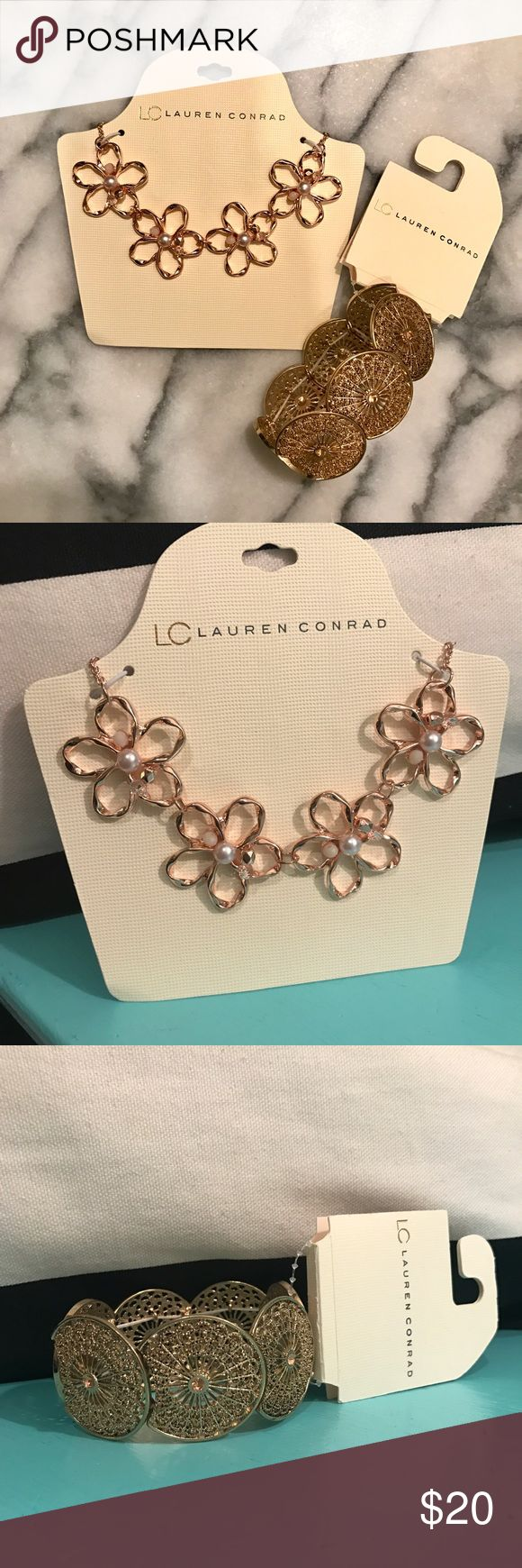 ✨NEW✨ LC Lauren Conrad Jewelry Necklace Bracelet Set of two NEW, unopened pieces of jewelry still in their packaging. LC Lauren Conrad for Kohl's rose gold flower necklace with pearls and gold boho stretch bracelet. LC Lauren Conrad Jewelry