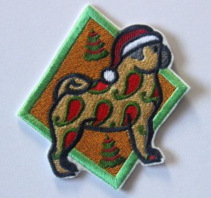 Christmas pug patch iron on patch featuring a by JaneAtNumber13