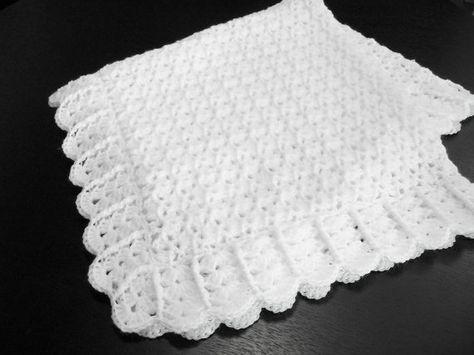 White Baby Blanket Afghan Crochet Christening Baptism Crib Stroller Car Seat Shower Gift Photo Prop