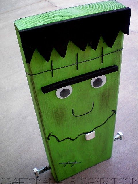Frankenstein out of a 2x4! Lol. Could use cereal boxes and craft foam also
