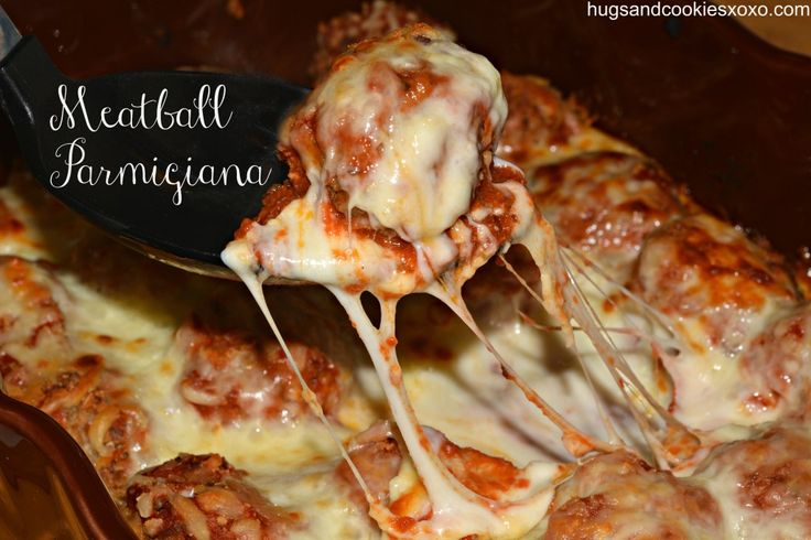 Baked Meatball Parmigiana - No frying on the stove, no splatter, no mess - Perfect for a quick meal during the week!  Hugs and Cookies XOXO #Recipe #Dinner