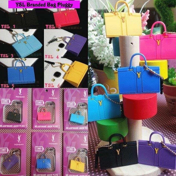Koleksi Jewelry Pluggy (Min 2 Pcs) :  Kode : AWS-191, Nama : Branded Bags Pluggy Gantungan HP, Price : IDR 22.5, Model : YSL (YSL 1-6)
