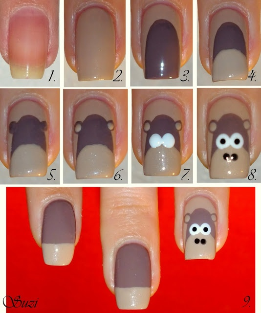 (@Emma Drummond Gordon look how nice monkeys so you can try on me when you come to orlando jajaja)Monkey Nail Design - tutorial