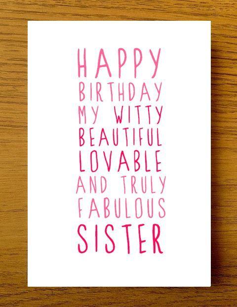 Sweet Description Happy Birthday Sister Card