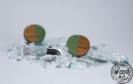 Green Stud Earrings Olive Green Earrings Wood by TheWoodArtShop