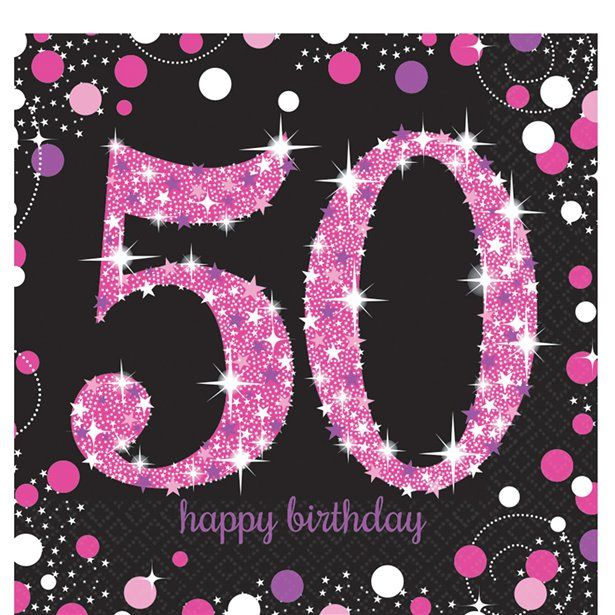 50th Pink Sparkle Napkins 2ply paper Party Tableware Disposable Birthday Decor