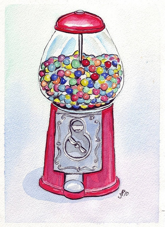 Gumball Machine Art Candy Watercolor Art Print 8x10 by jojolarue, $15.00