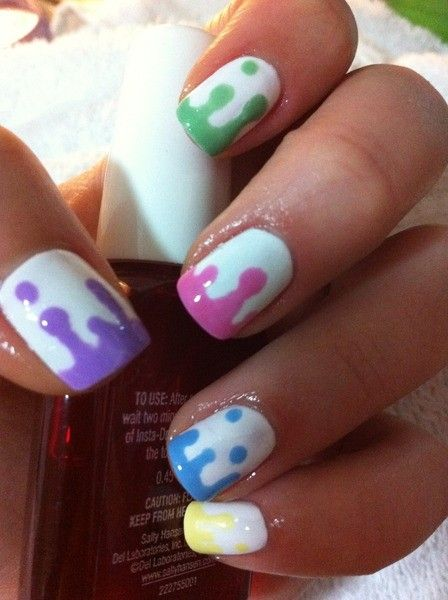 How to do your nails like this? Easy! Use a bobby pin to make the dots, then drag it down and connect the colored polish at the bottom. Found this idea somewhere on Tumblr.