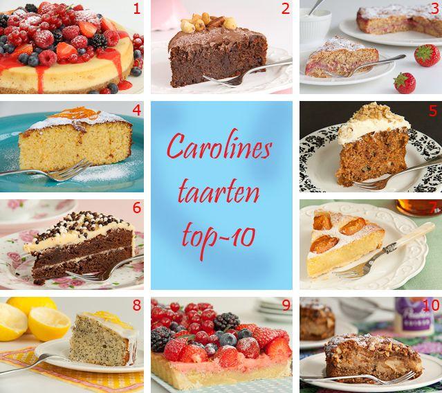 1. Cheesecake met zomerfruit  2. Chocolade & hazelnoottaart (glutenvrij)  3. Aardbeien & kaneeltaart  4. Sinaaappeltaart  5.  Ott...
