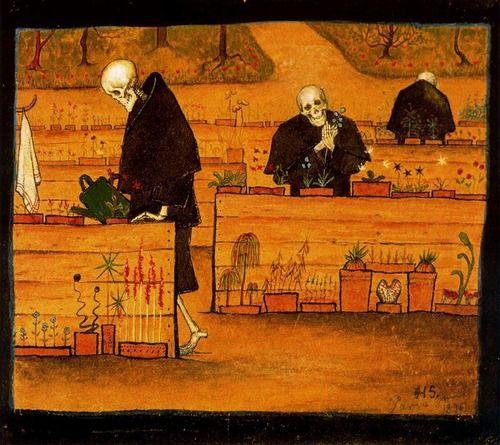 The Garden of the Dead, Hugo Simberg (1873-1917), 1896. (Ateneum Art Museum, Helsinki, Finland) Via.