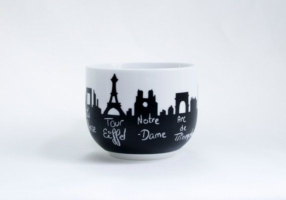 soup Mug cup souvenir Paris skyline Eiffel tower, Notre dame de Paris by AliceinMontreal