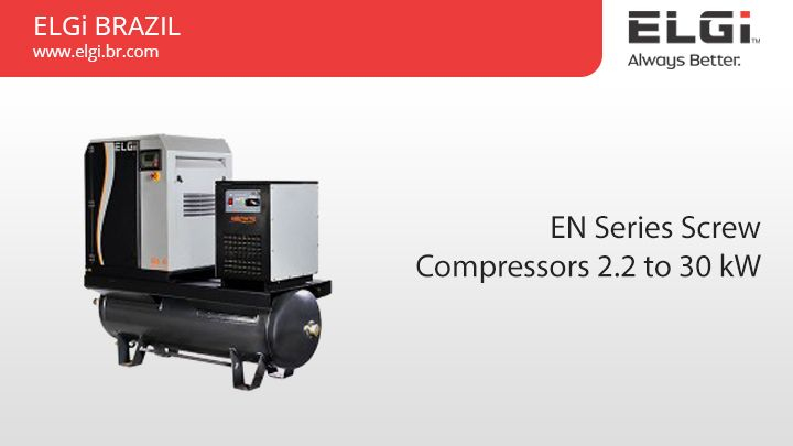 EN Series Screw Compressors 2.2 to 30 kW https://www.elgi.br.com/en-series-screw-compressors-2-2-to-30-kw/ ELGi's EN Series screw compressors are designed to encapsulate all functional components of the compressor within a common housing. #ScrewCompressors #ENSeriesCompressors #AirCompressorsBrazil