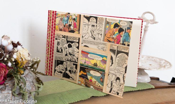 """Carnet , livre d'or, carnet de voyage, illustration vintage """"l e club des cinq"""" E.Blyton, reliure japonaise, rouge, fait main, papier velin de la boutique AtelierPicorina sur Etsy"""