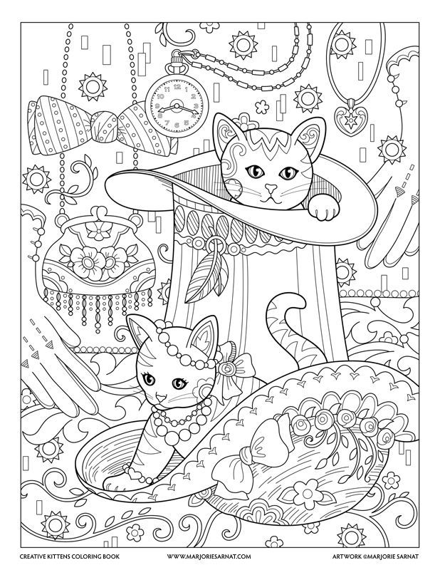 Top Hat Creative Kittens Coloring Book By Marjorie Sarnat